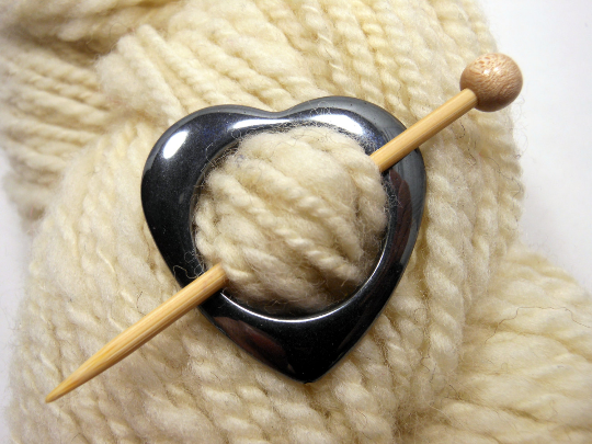 Hematite Shawl Pin ~ Be Still My Beating Heart