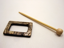 "Mother of Pearl Rectangular Shawl Pin ""Berth"""