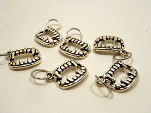 Handmade Silver Metal Stitch Markers ~ Bite Me Like One Of Your French Girls ~ Set of 6