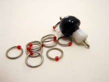 Handmade Snagless Lamp Work Glass & Metal Stitch Markers ~ Black and White Mushroom ~ Set of 10