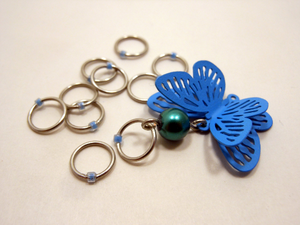 Handmade Snagless Metal Stitch Markers ~ Blue 3D Butterfly with Glass ~ Set of 10