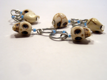 Handmade Snagless Stitch Markers ~ Neon Blue Skull ~ Set of 6