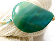 Handmade Natural Stone Shawl Pin ~ Blue Spruce ~ Wire Wrapped Blue Green Agate with Mint Green Wire