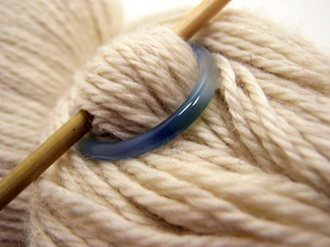 Natural Stone Shawl Pin ~ Blue Stone Ring H