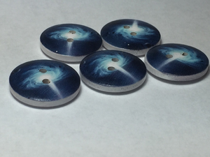 Galaxy Buttons ~ Medium ~ Blue Supernovas ~ Set of 5