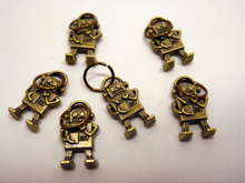 Handmade Antique Bronze Metal Stitch Markers ~ Electric Love ~ Set of 6 Robot Stitch Markers
