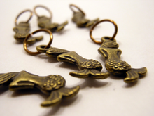 Handmade Antique Bronze Metal Stitch Markers ~ Siren ~ Set of 6