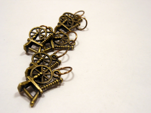 Handmade Antique Bronze Metal Stitch Markers ~ Spinning Wheels ~ Set of 6