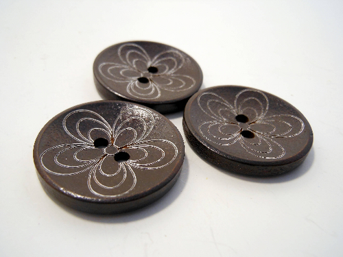 Wooden Buttons Set of 3: Brown Wooden Daisy Buttons ~ Large Dark Brown Colored Wooden Buttons with White Daisies 1 1/4