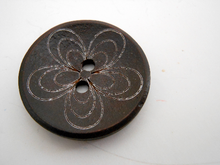 "Wooden Buttons Set of 3: Brown Wooden Daisy Buttons ~ Large Dark Brown Colored Wooden Buttons with White Daisies 1 1/4"" Diameter"