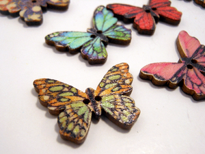 "Wooden Buttons Set of 5: Printed Wooden Butterfly Buttons ~ Medium Flat Butterfly Wooden Buttons 1"" Wide 3/4"" High ~ Assorted Patterns"