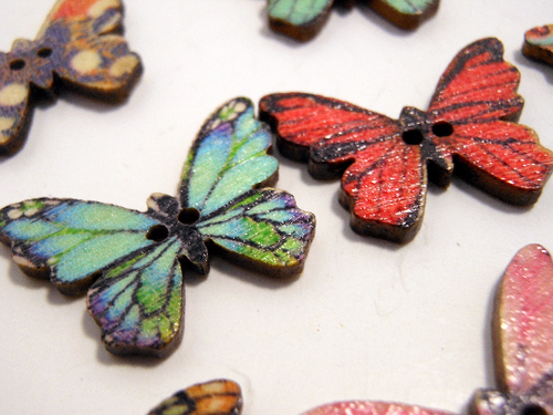 Wooden Buttons Set of 5: Printed Wooden Butterfly Buttons ~ Medium Flat Butterfly Wooden Buttons 1