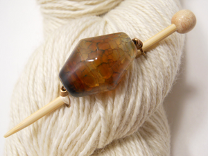 Handmade Natural Stone Shawl Pin ~ Cappuccino ~ Wire Wrapped Brown Ombre Agate with Antique Bronze Wire