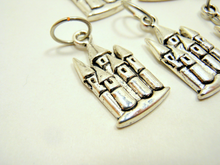 Handmade Silver Metal Stitch Markers ~ Castle on a Cloud ~ Set of 6