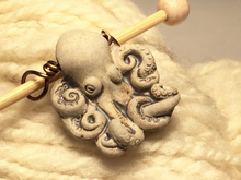 Ceramic Octopus Shawl Pin ~ Raku Fired ~ Natural Gray ~ Wire Wrapped