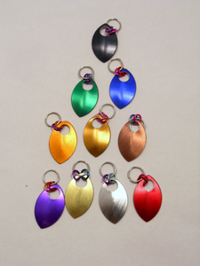 Handmade Chainmaille Metal Stitch Markers ~ Crochet and Knit ~ Red, Gold, Brass, Orange, Brown, Black, Silver, Mirror, Purple, Blue, Green
