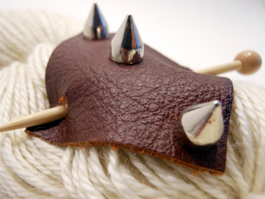 Studded Leather Shawl Pin ~ Chesterfield