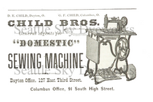 Vintage Style Postcard Set of 4 ~ Child Bros Domestic Sewing Machine ~ Vintage Sewing Machine Salesman Advertisement Postcard