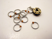 Handmade Snagless Metal Stitch Markers ~  Chocolate Donut with Vanilla Frosting ~ Set of 10