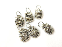 Handmade Silver Metal Stitch Markers ~ Chubby Owls ~ Set of 6