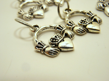 Handmade Silver Metal Stitch Markers ~ Claddagh ~ Set of 6