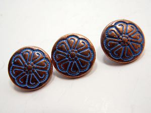 "Metal Buttons Set of 5: Copper Celtic Floral Metal Shank Buttons ~ Celtic Knot Floral Patina'd Copper Metal Buttons 1/2"" Diameter"
