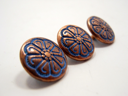 Metal Buttons Set of 5: Copper Celtic Floral Metal Shank Buttons ~ Celtic Knot Floral Patina'd Copper Metal Buttons 1/2