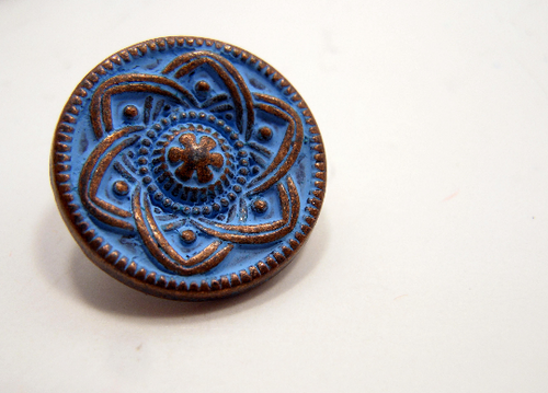Metal Buttons Set of 5: Copper Celtic Daisy Metal Shank Buttons ~ Celtic Knot Daisy Patina'd Copper Metal Buttons 9/16