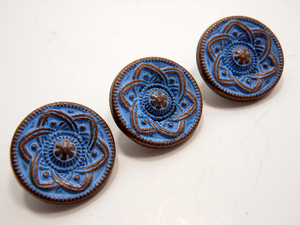 "Metal Buttons Set of 5: Copper Celtic Daisy Metal Shank Buttons ~ Celtic Knot Daisy Patina'd Copper Metal Buttons 9/16"" Diameter"