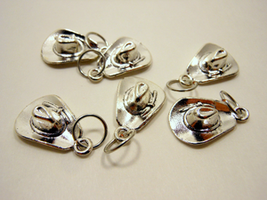 Handmade Silver Metal Stitch Markers ~ Cowboy Hat ~ Set of 6