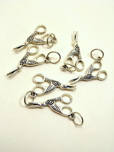 Handmade Silver Metal Stitch Markers ~ Crane Scissors ~ Set of 6