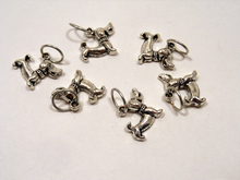 Handmade Silver Metal Stitch Markers ~ Dachshunds ~ Set of 6