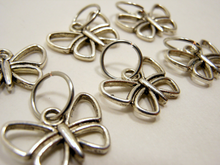 Handmade Silver Metal Stitch Markers ~ Dainty Butterflies ~ Set of 6