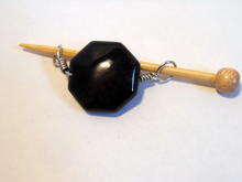 Handmade Natural Stone Shawl Pin ~ Wire Wrapped Stone ~ Dark Dragon Agate with Silver Wire