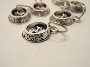 Handmade Silver Metal Stitch Markers ~ Dog Bowls ~ Set of 6