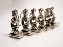 Handmade Silver Metal Stitch Markers ~ Doin' Science ~ Set of 6 Microscopes