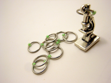 Handmade Snagless Metal Stitch Markers ~ Doin' Science! ~ Set of 10 ~ BioHazard Lime Markers with Silver Microscope Charm