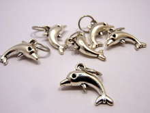 Handmade Silver Metal Stitch Markers ~ Dolphins ~ Set of 6