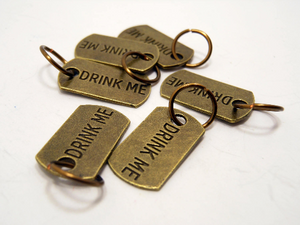 Handmade Antique Bronze Metal Stitch Markers ~ Drink Me! ~ Set of 6 Alice in Wonderland Inspired Stitch Markers