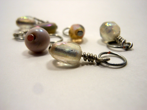 Handmade Indian Glass and Silver Stitch Markers ~ Dusky Pink ~ Set of 6 ~ Iridescent Handmade Glass Beads