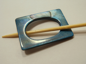 "Mother of Pearl Rectangular Shawl Pin ""Duwamish"""