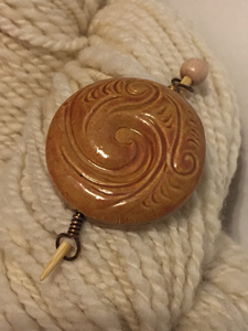 Ceramic Earth Elemental Shawl Pin ~ Golden Brown Glazed ~ Wire Wrapped