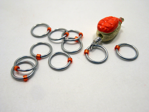 Handmade Snagless  Metal Stitch Markers ~ Ebi Nigiri ~ Set of 10