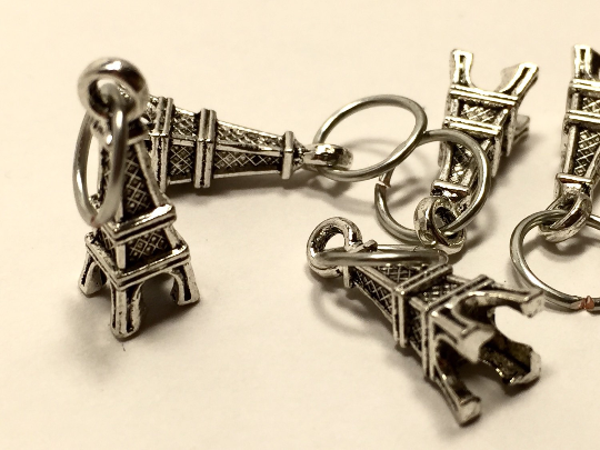 Handmade Silver Metal Stitch Markers ~ Eiffel Tower ~ Set of 6
