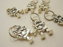 Handmade Silver Metal Stitch Markers ~ Electric Love ~ Set of 6 Robot Stitch Markers