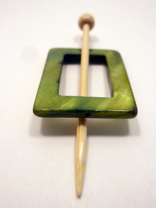 "Mother of Pearl Rectangular Shawl Pin ""Emerald City"""