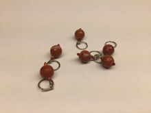 Handmade Natural Stone Stitch Markers ~ Faceted Jasper with Red Accents ~ Set of 6