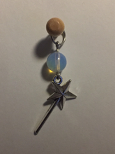 Handmade Single Metal Stitch Marker ~ Opalite and Silver ~ Fairy Godmother