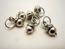Handmade Silver Metal Stitch Markers ~ Fatty Acorns ~ Set of 6