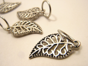 Handmade Silver Metal Stitch Markers ~ Filigree Foliage ~ Set of 6